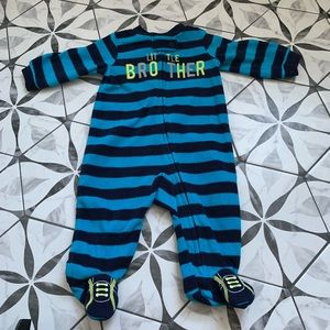 CARTERS | EUC Little Brother Fleece Footed Onesie